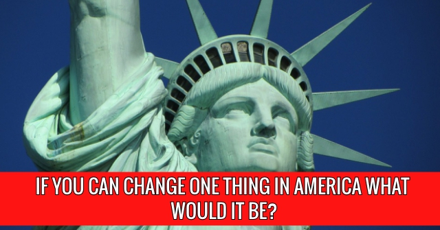 If You Can Change One Thing In America What Would It Be?